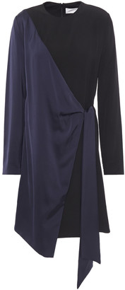 Victoria Victoria Beckham Wrap-effect Two-tone Satin-crepe Dress