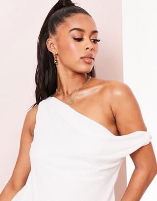 Asos Design ASOS LUXE fallen shoulder cami in white