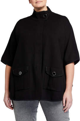 Anne Klein Plus Size Zip-Front Poncho
