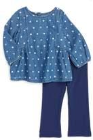 Splendid Dot Print Tunic & Legging Set (Baby Girls)