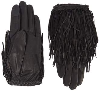 Agnelle Black Fringed Leather Gloves