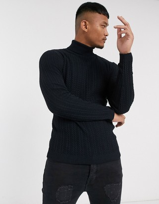 ASOS DESIGN muscle fit lightweight cable roll neck jumper in dark navy