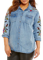 Jessica Simpson Plus Pearl Embroidered Shirt