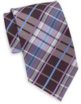 Saks Fifth Avenue Tri-Color Plaid Silk Tie & Gift Box