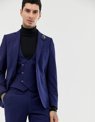 Gianni Feraud slim fit perfect navy wool blend suit jacket