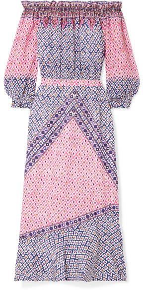 Saloni Grace Off-the-shoulder Printed Silk Crepe De Chine Midi Dress