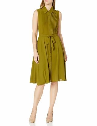 Nanette Lepore Nanette Women's Sleeveless Pintuck Bodice Button Placket Midi Dress with A Line Skirt