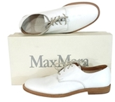 Max Mara White Leather Lace Up Flats