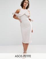 Asos Texture Cold Shoulder Bow Midi Dress