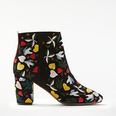 Boden Folk Embroidered Block Heeled Ankle Boots, Black