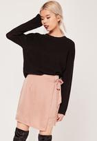Missguided Pink Petite Satin Wrap Asymmetric Lace Hem Mini Skirt