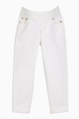 Topshop Womens **Maternity Ecru Under The Bump Mom Tapered Jeans - White
