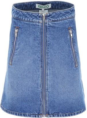 Kenzo Denim Zipped Mini Skirt