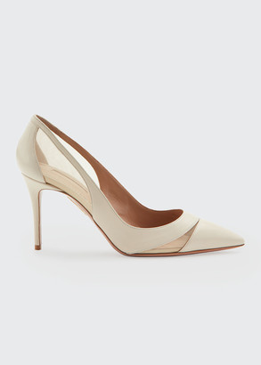 Aquazzura Savoy Napa & Mesh Point-Toe Pumps