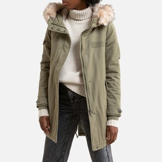 Only Cotton Mid-Length Parka with Hood