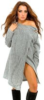 Glamour Empire Womens Knit Waterfall Cardigan Blazer Wrap Turn-up sleeves 411