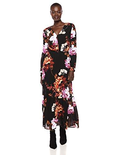 ECI New York Women's Long Sleeve Fall Floral Button Front Flowy Maxi Dress