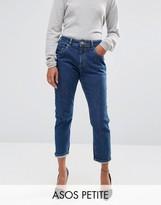 Asos FARLEIGH High Waist Slim Mom Jeans In Courtney Flat Blue Wash