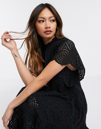 Y.A.S broderie midi smock dress with ruffle neck in black