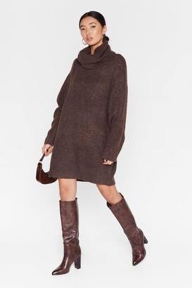 Nasty Gal Womens Knit Just Got Better Turtleneck Sweater Dress - Chocolate