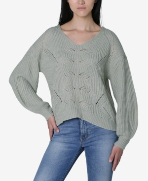 Ultra Flirt Juniors' Mixed-Stitch Lattice Sweater