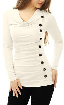 Unique Bargains Women's Casual Pullover Cowl Neck Long Sleeve Side Ruched Tunic Tops