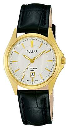 Pulsar Women's Quartz Watch with Black Dial Analogue Display Quartz Leather PH7426X1
