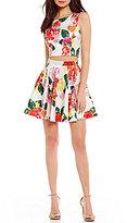 Jodi Kristopher Floral Print Two-Piece Dress