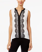 INC International Concepts Colorblocked Lace-Trim Top, Only at Macy's