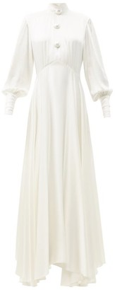 Christopher Kane Pearl-button High-neck Satin Gown - White
