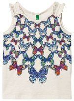 Benetton Off-White Butterfly Print Cotton Tank Top