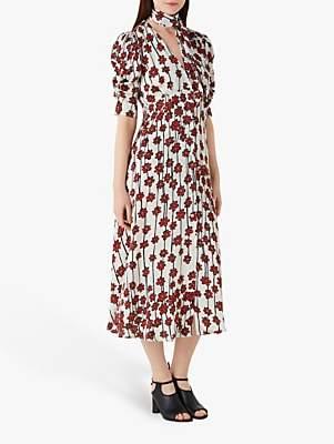 Finery Claredon Tie Neck Floral Dress, Multi