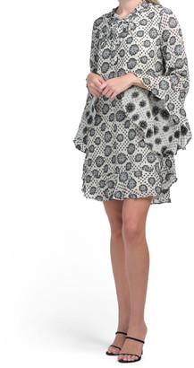 Short Shift Woven Jacquard Dress