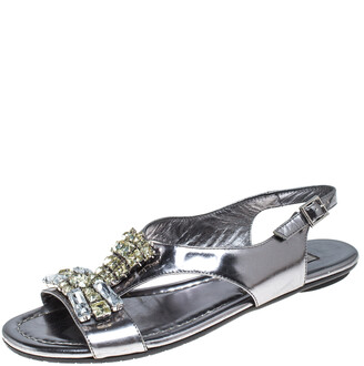 Jimmy Choo Silver Metallic Crystal Embellished Patent Leather Slingback Flat Sandals Size 36