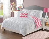 5 Piece Girls White Pinch Pleated Comforter Full Queen Set, Beautiful Diamond Pattern, Pin Tucked Bedding, Pretty Fun Horizontal Chevron Style, All Over Pintuck Puckered Themed, Solid Salmon Hot Pink