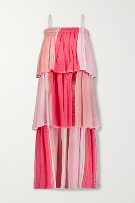 Lemlem Eshal Tiered Embroidered Cotton-blend Gauze Maxi Dress - Pink