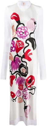 Marni Painted Florals Long Dress