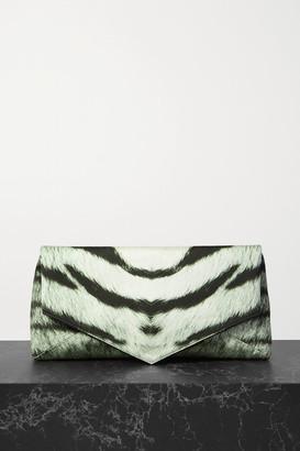 Dries Van Noten Envelope Large Zebra-print Duchesse Satin Clutch - Zebra print