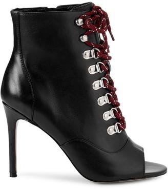 Charles David Charlye Peep-Toe Leather Booties