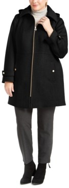 Michael Kors Michael Plus Size Hooded Stand-Collar Coat, Created for Macy's