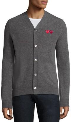 Comme des Garcons Dual Signature Logo Patch Wool Cardigan