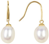 Argentovivo 18K Gold Plated Sterling Silver 9-12mm Genuine Freshwater Pearl Drop Earrings