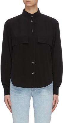 Frame 'Clean Safari' stand collar balloon sleeve silk shirt
