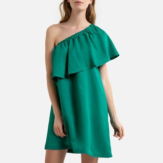 La Redoute Collections Asymmetric Occasion Midi Dress with Off-the-Shoulder Ruffle