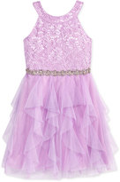 Sequin Hearts Lace and Mesh Halter Dress, Big Girls (7-16)