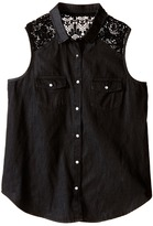 Ikks Sleeveless Denim Blouse with Snap Front & Crochet Lace Detail at Shoulder (Big Kids)