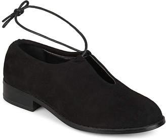 Brinley Co. Women's Ballet Flats Black - Black Ankle-Tie Cutout Petal Flat - Women