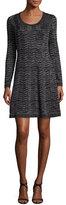 M Missoni Long-Sleeve Zigzag Lurex® A-Line Dress, Black