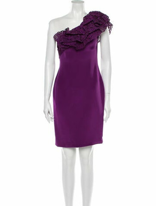 Marchesa Silk Mini Dress Purple
