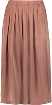 Iris and Ink Pleated silk-satin culottes